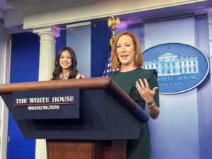 WATCH: Pop star Olivia Rodrigo joins Jen Psaki during White House news briefing