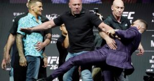 Conor McGregor talks trash, throws kick at Dustin Poirier before UFC 264 – National