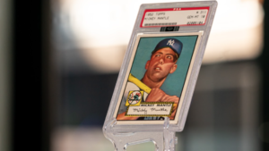 1952 Topps Mickey Mantle baseball card on display this weekend